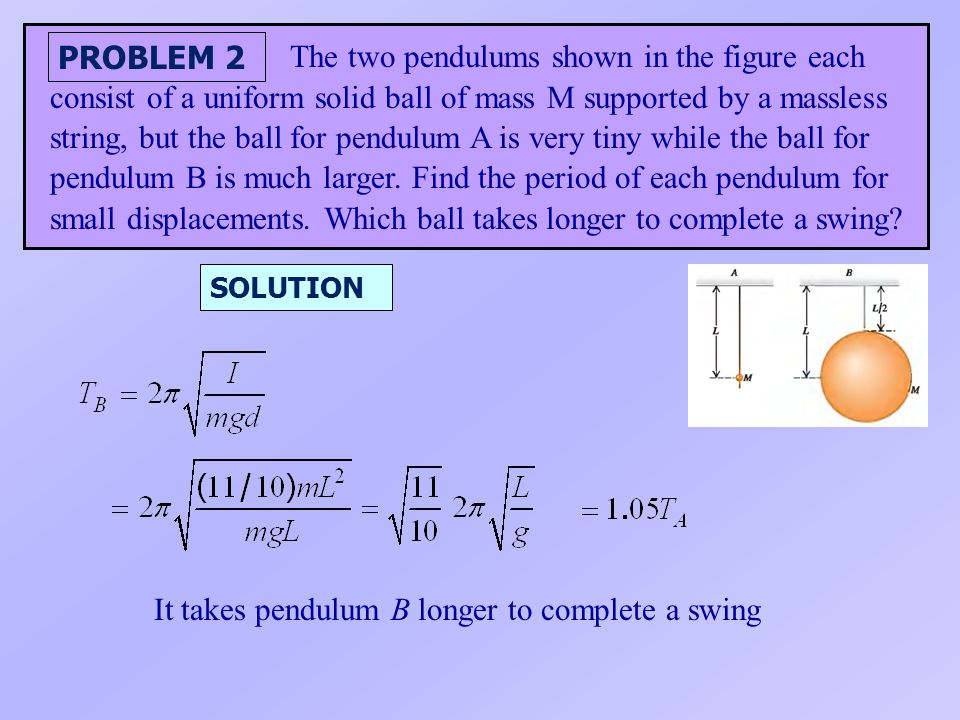 It takes pendulum B longer to complete a swing