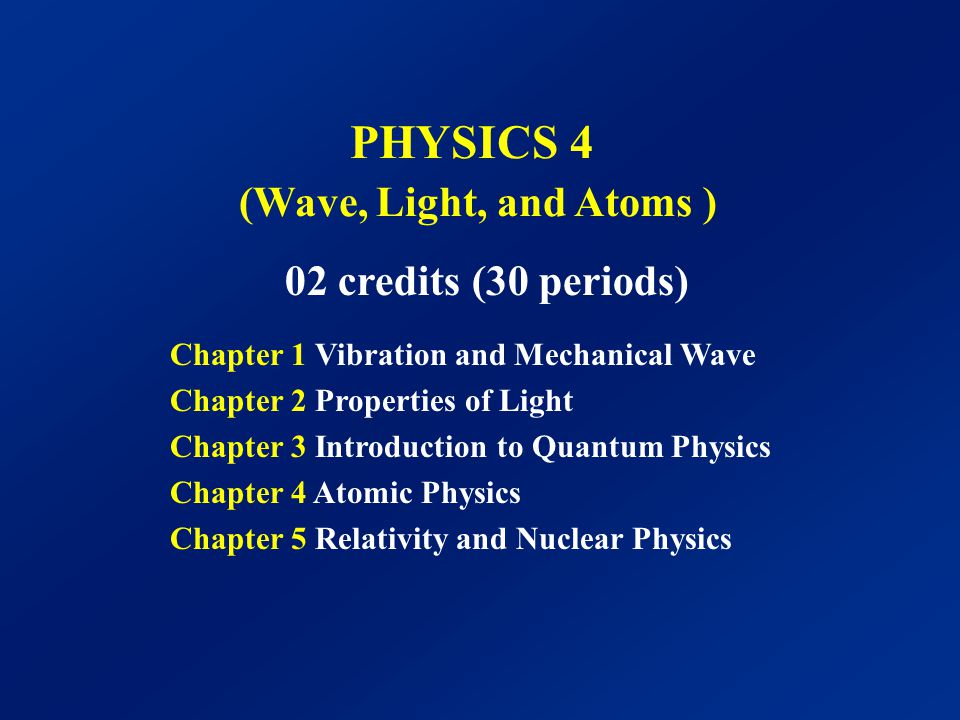 PHYSICS 4 (Wave, Light, and Atoms )