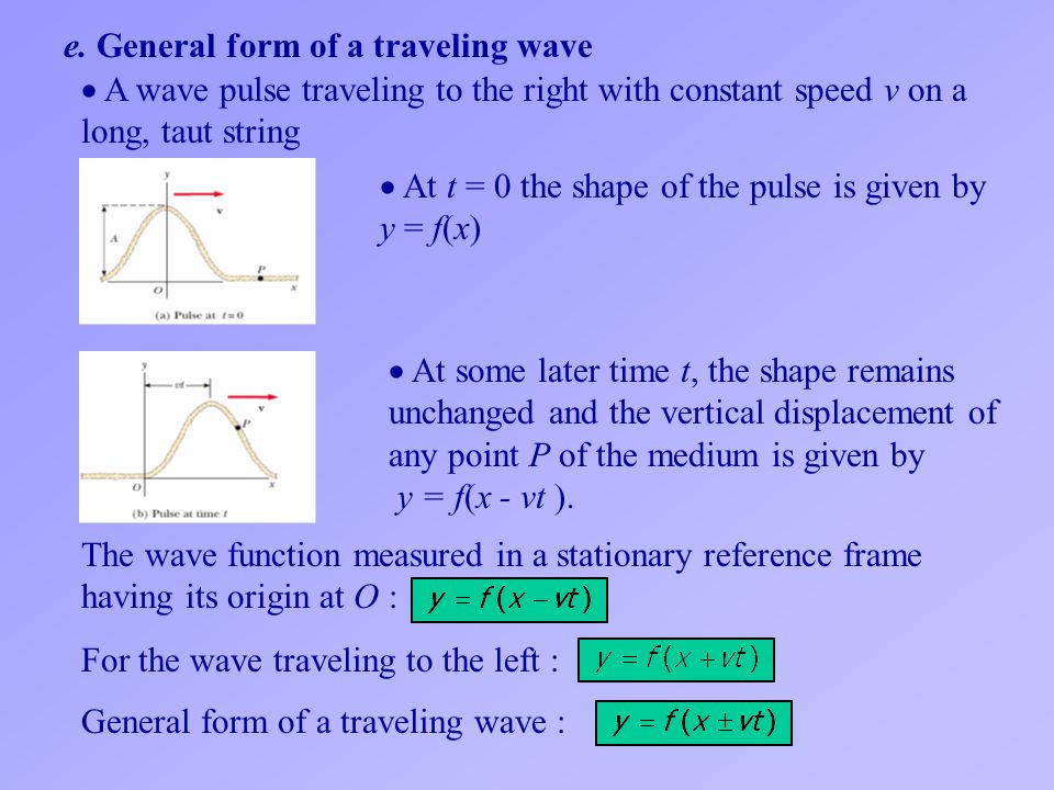 e. General form of a traveling wave