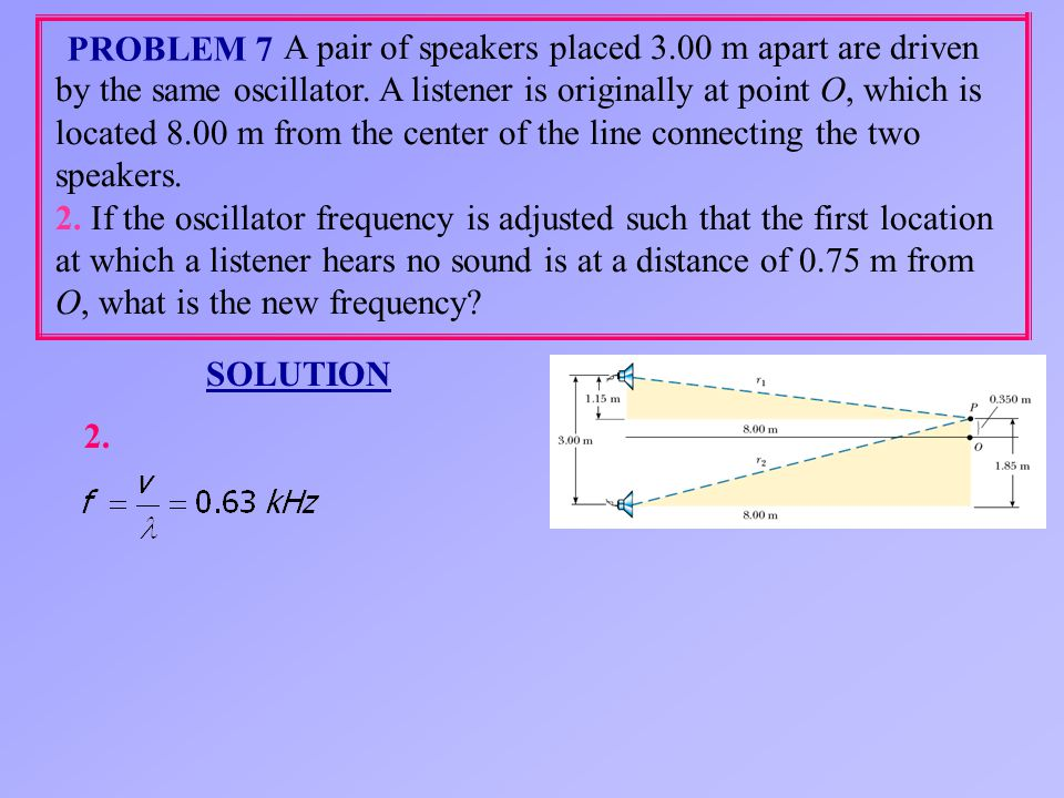 A pair of speakers placed 3.00 m apart are driven