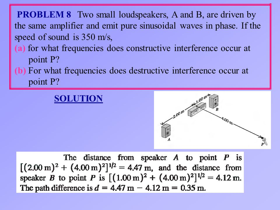 Two small loudspeakers, A and B, are driven by