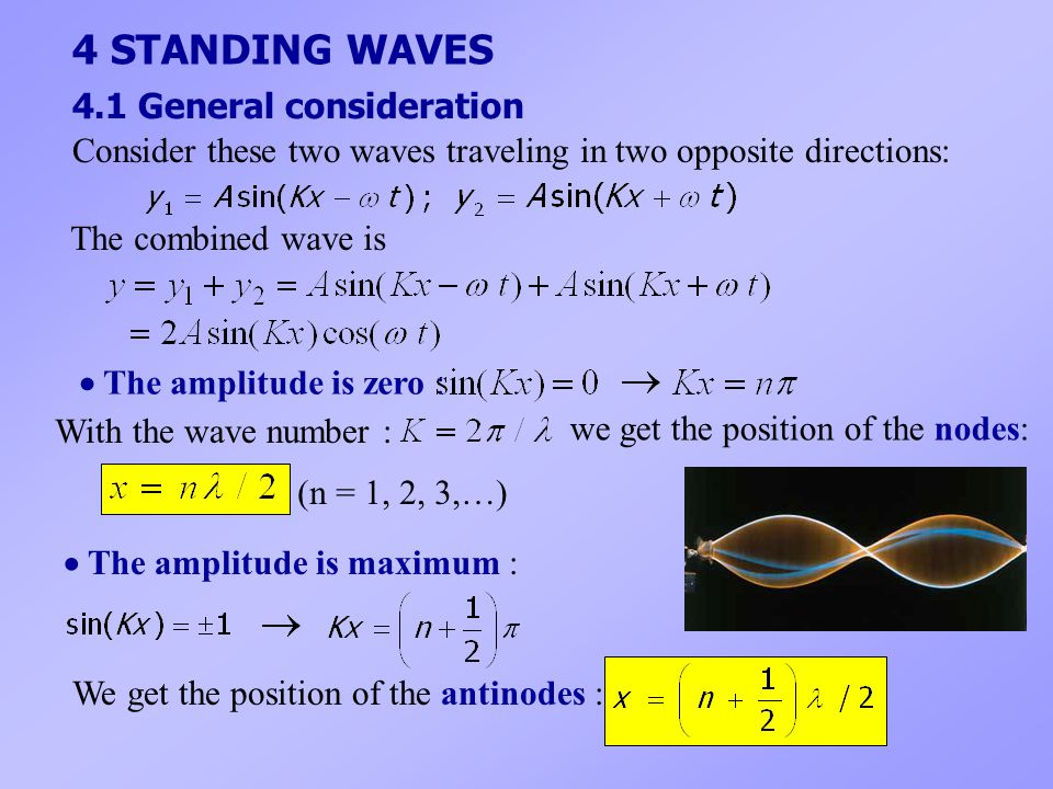 4 STANDING WAVES 4.1 General consideration