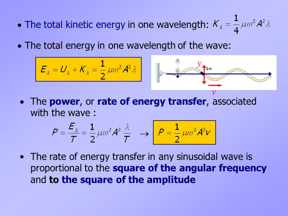  The total kinetic energy in one wavelength: