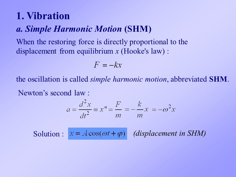 1. Vibration a. Simple Harmonic Motion (SHM)