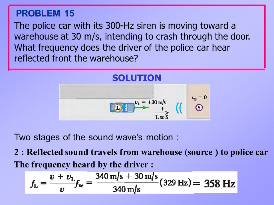 PROBLEM 15 The police car with its 300-Hz siren is moving toward a. warehouse at 30 m/s, intending to crash through the door.