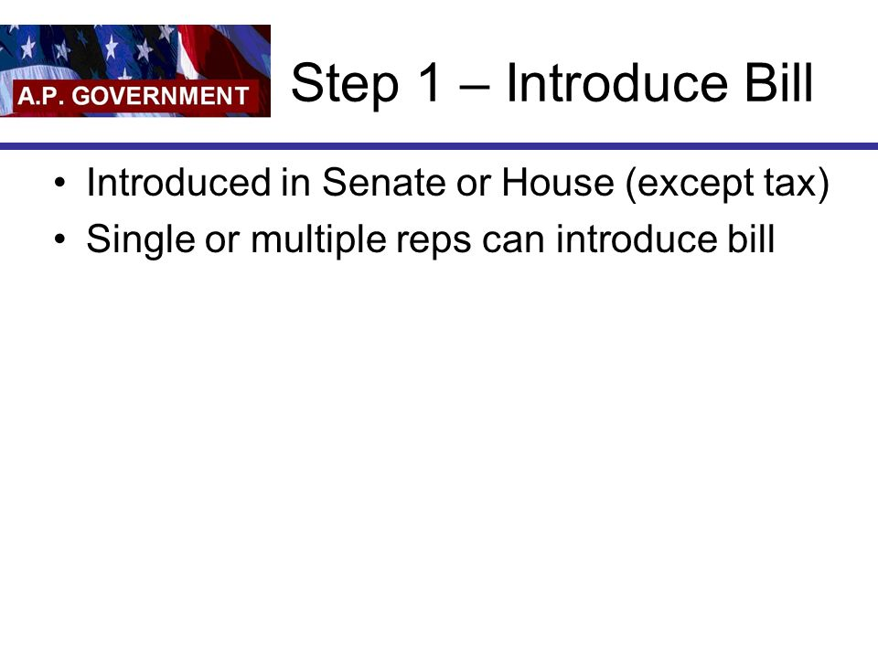 Step 1 – Introduce Bill Introduced in Senate or House (except tax)