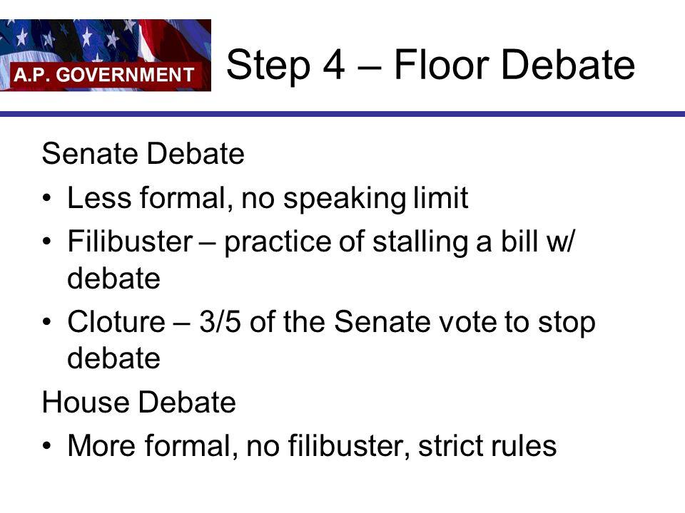 Step 4 – Floor Debate Senate Debate Less formal, no speaking limit
