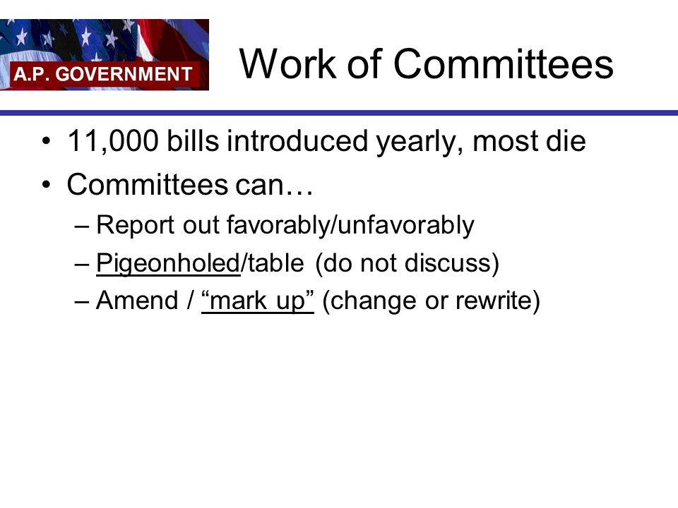 Work of Committees 11,000 bills introduced yearly, most die