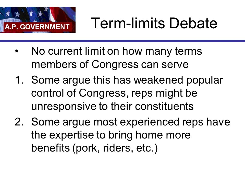 Term-limits Debate No current limit on how many terms members of Congress can serve.