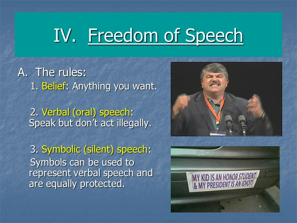 IV. Freedom of Speech A. The rules: 1. Belief: Anything you want.