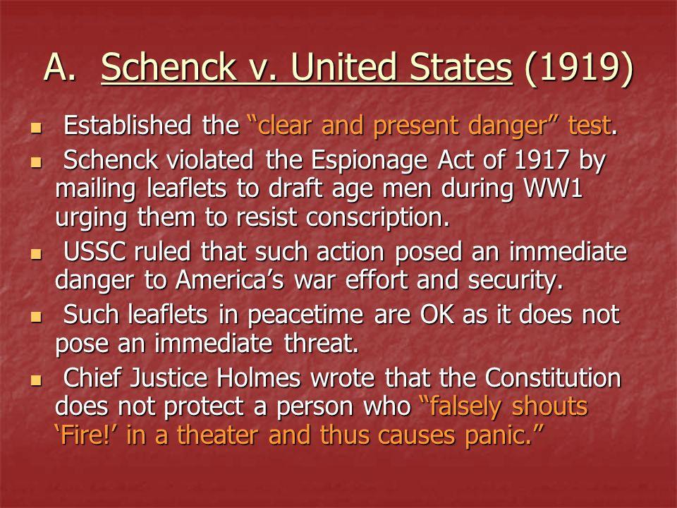 A. Schenck v. United States (1919)