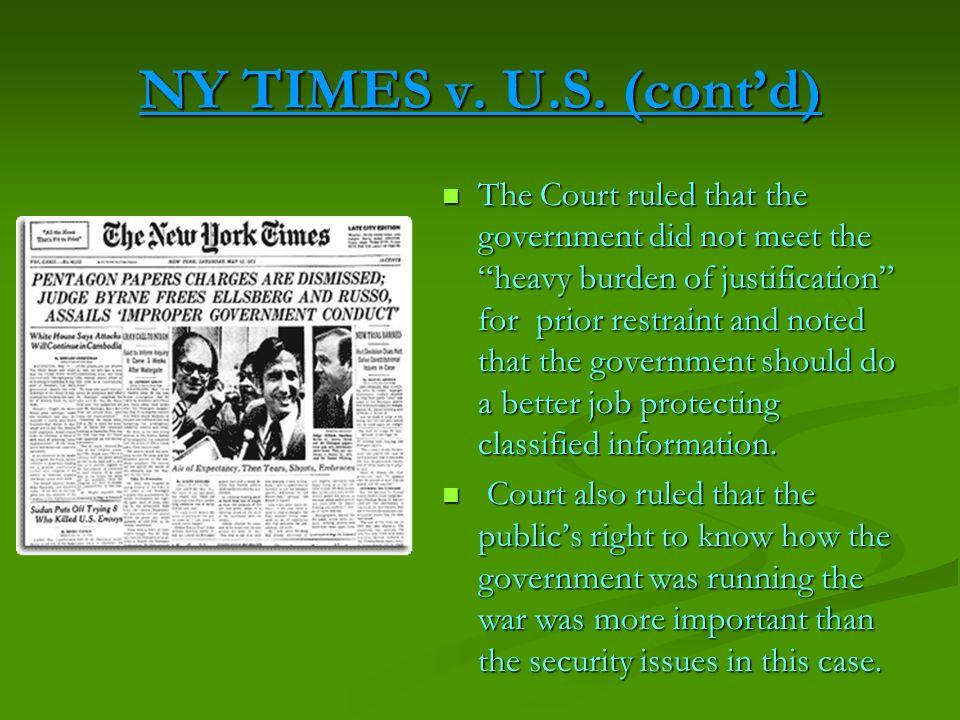 NY TIMES v. U.S. (cont'd)
