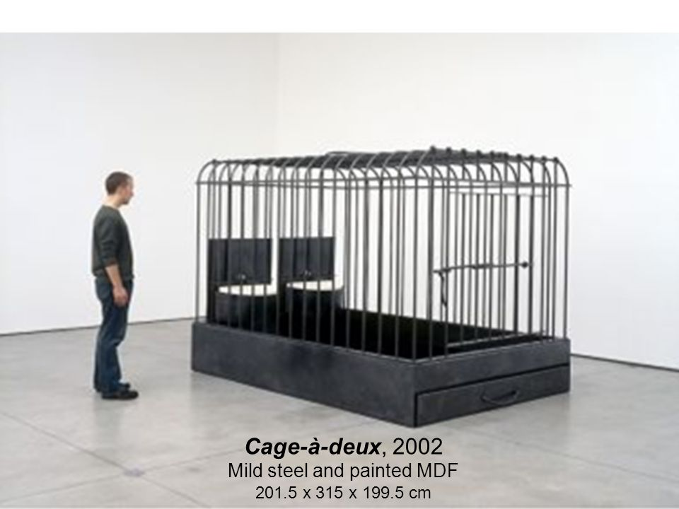 Cage-à-deux, 2002 Mild steel and painted MDF 201.5 x 315 x 199.5 cm
