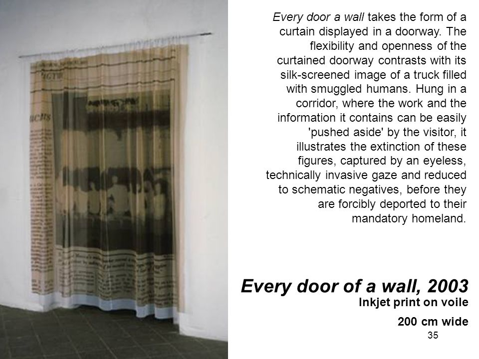 Every door a wall takes the form of a curtain displayed in a doorway