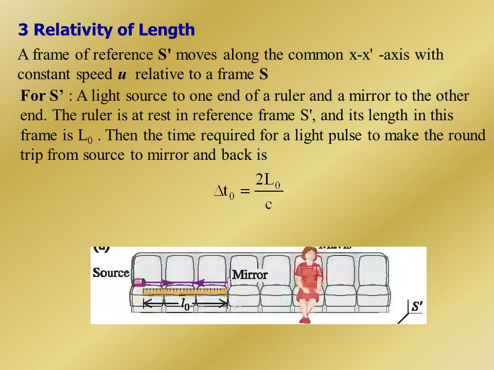 3 Relativity of Length A frame of reference S moves along the common x-x -axis with constant speed u relative to a frame S.