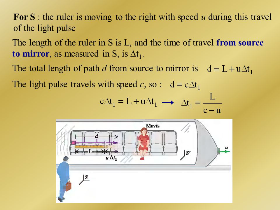 For S : the ruler is moving to the right with speed u during this travel of the light pulse