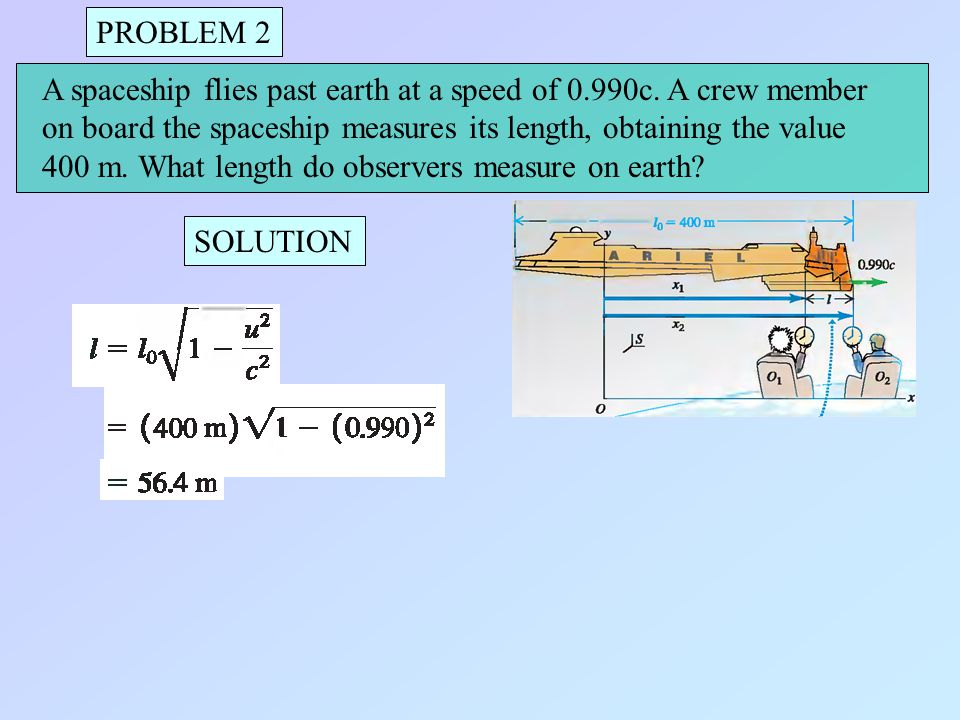 PROBLEM 2 A spaceship flies past earth at a speed of 0.990c. A crew member on board the spaceship measures its length, obtaining the value.