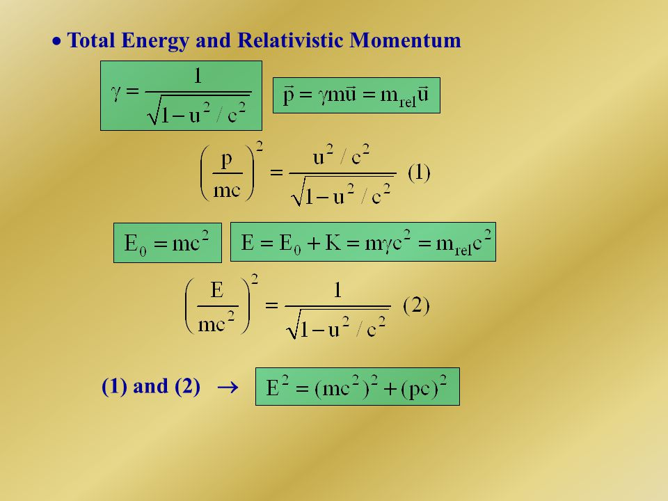  Total Energy and Relativistic Momentum