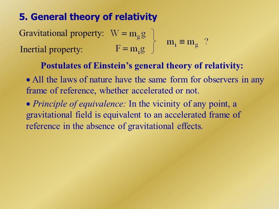 5. General theory of relativity