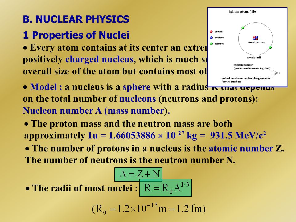 B. NUCLEAR PHYSICS 1 Properties of Nuclei.
