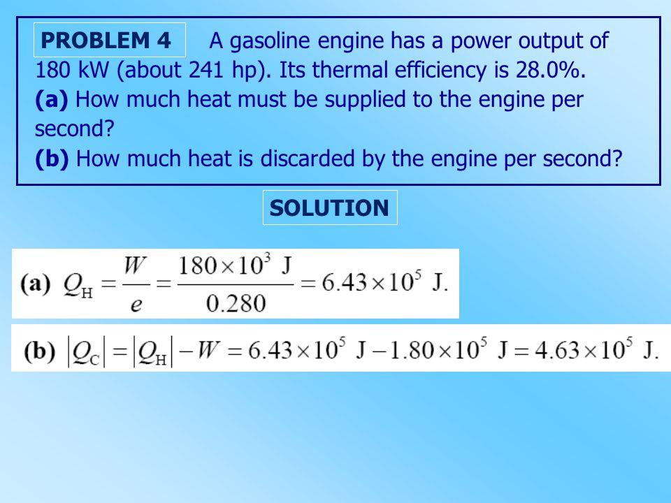 A gasoline engine has a power output of