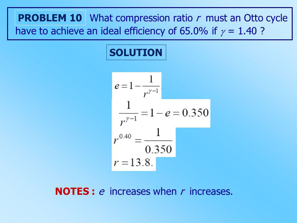 What compression ratio r must an Otto cycle