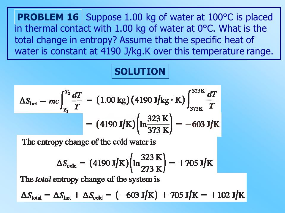 Suppose 1.00 kg of water at 100°C is placed