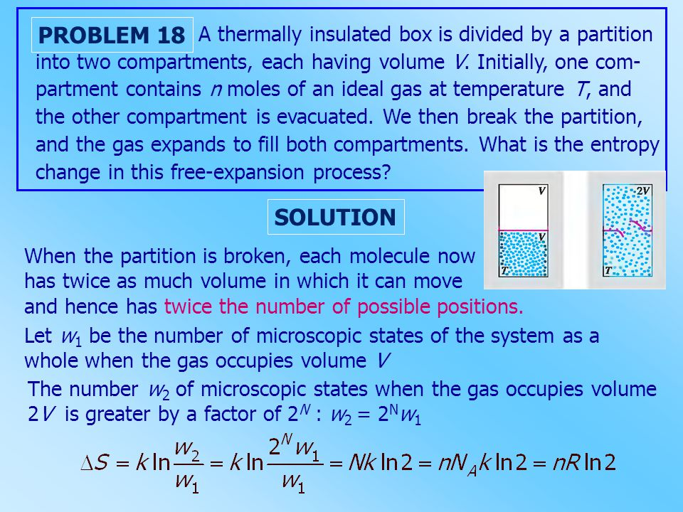 A thermally insulated box is divided by a partition