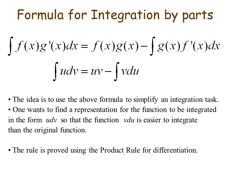 Formula for Integration by parts