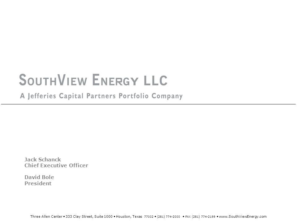 SouthView Energy overview