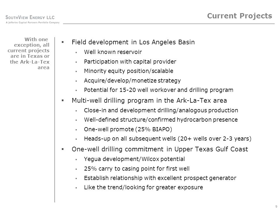 Current Projects One-well drilling commitment – multi-well development