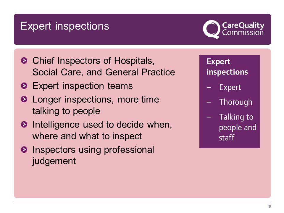 Expert inspections Chief Inspectors of Hospitals, Social Care, and General Practice. Expert inspection teams.