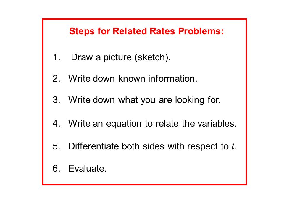 Steps for Related Rates Problems: