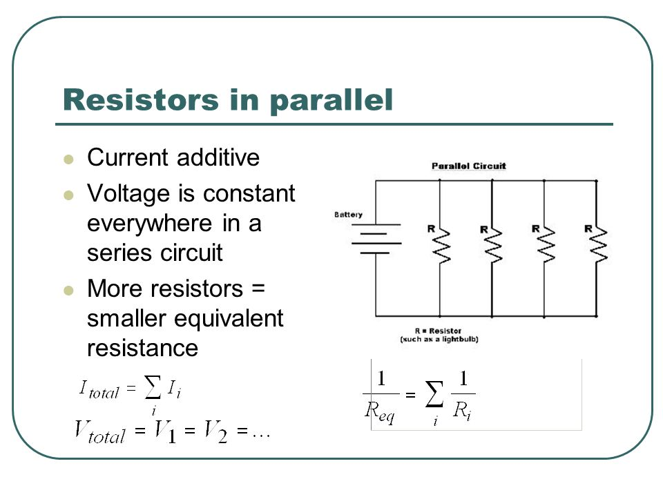 Resistors in parallel Current additive