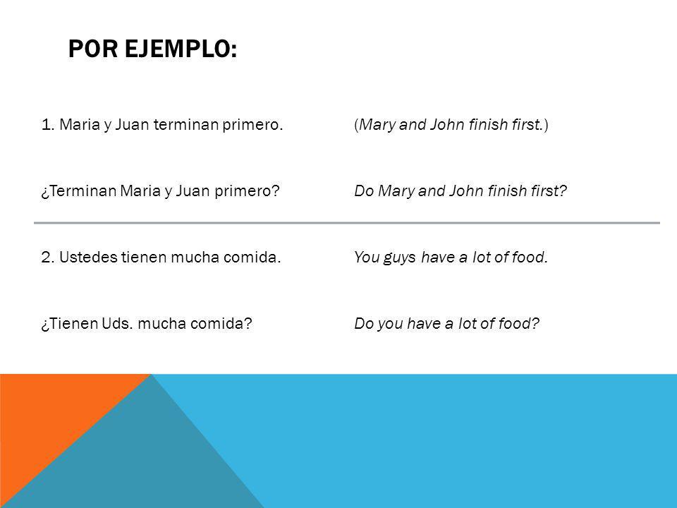 Por ejemplo: 1. Maria y Juan terminan primero.
