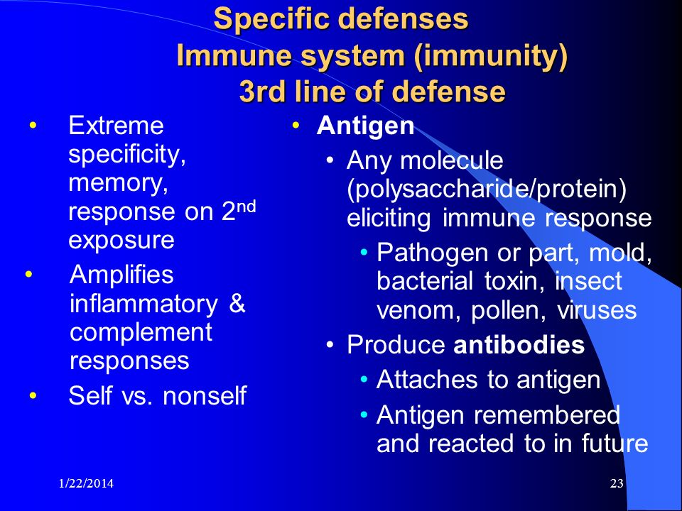 Specific defenses Immune system (immunity) 3rd line of defense
