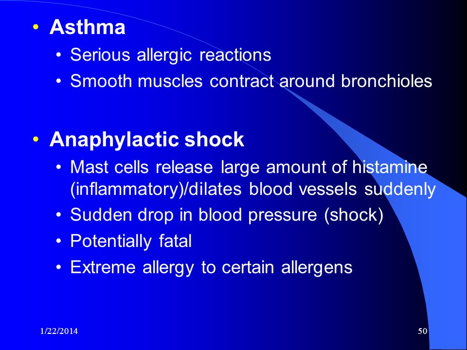 Asthma Anaphylactic shock Serious allergic reactions
