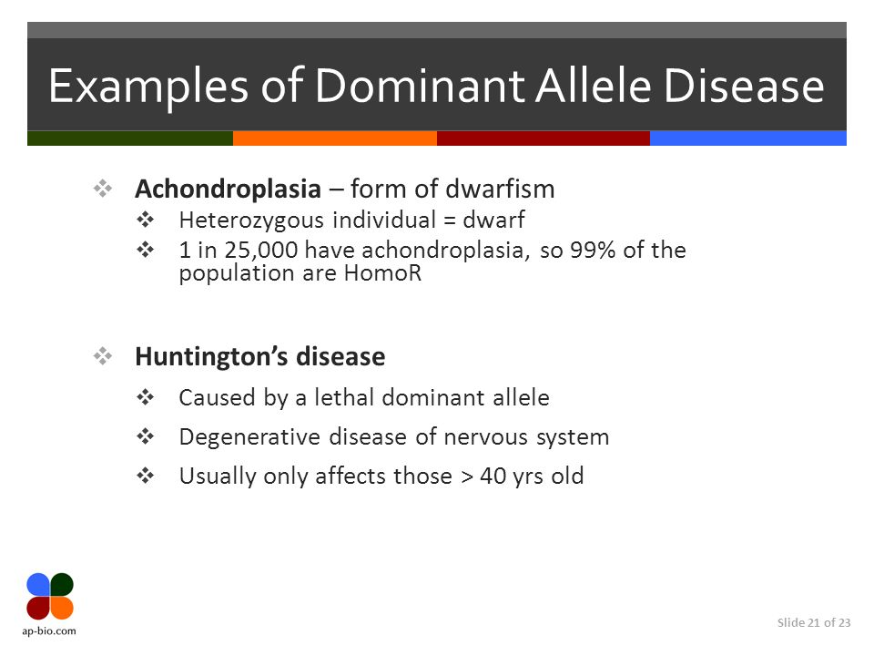 Examples of Dominant Allele Disease