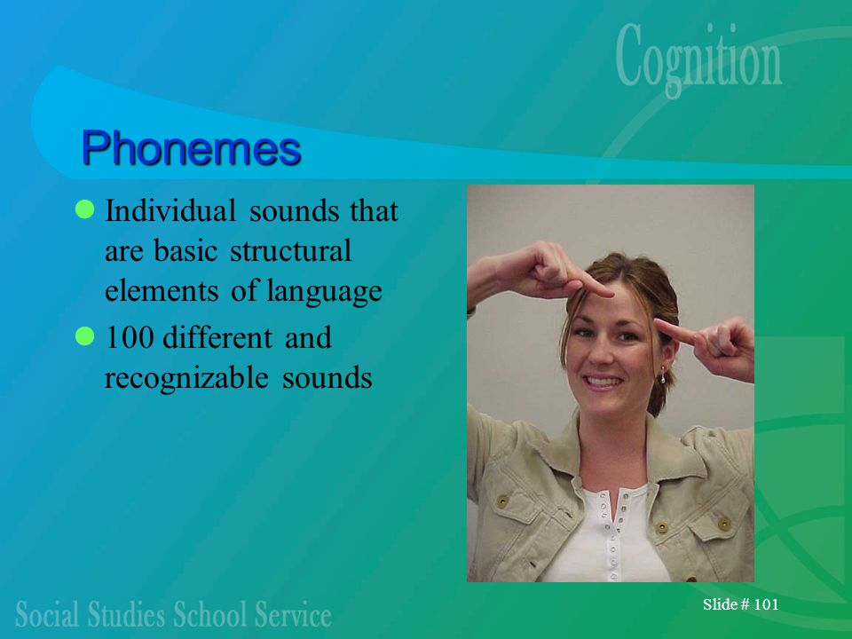 PhonemesIndividual sounds that are basic structural elements of language. 100 different and recognizable sounds.