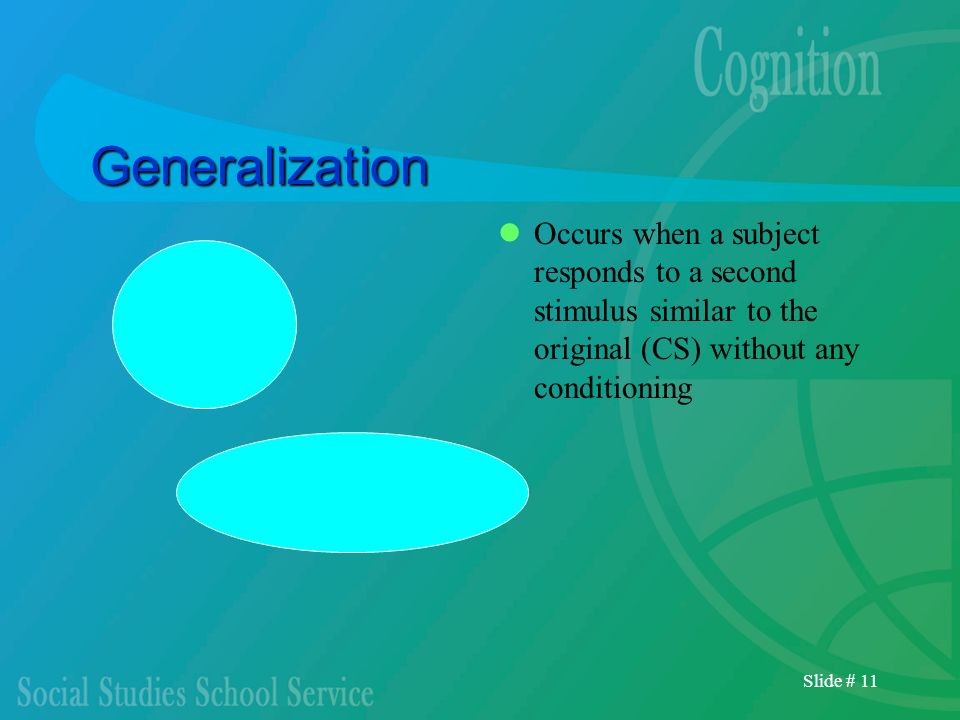 GeneralizationOccurs when a subject responds to a second stimulus similar to the original (CS) without any conditioning.