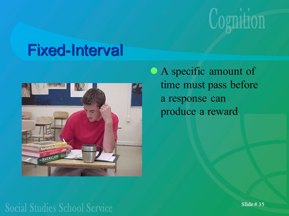 Fixed-Interval A specific amount of time must pass before a response can produce a reward.