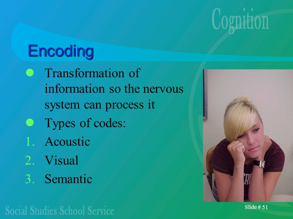 Encoding Transformation of information so the nervous system can process it. Types of codes: Acoustic.