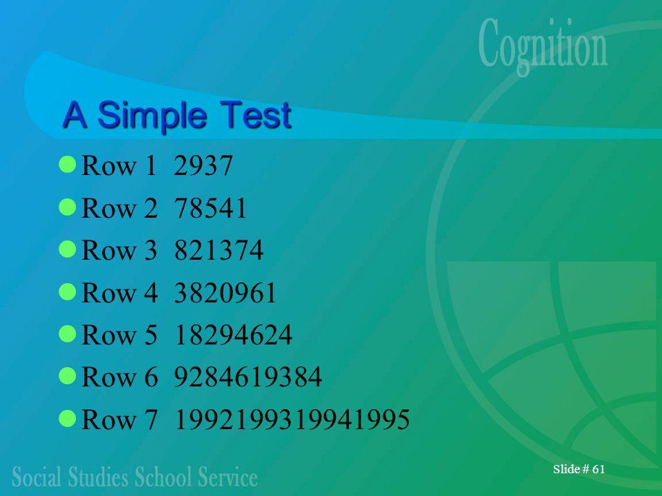 A Simple Test Row 1 2937 Row 2 78541 Row 3 821374 Row 4 3820961