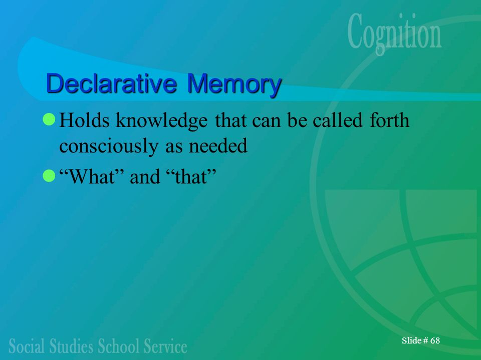 Declarative MemoryHolds knowledge that can be called forth consciously as needed. What and that