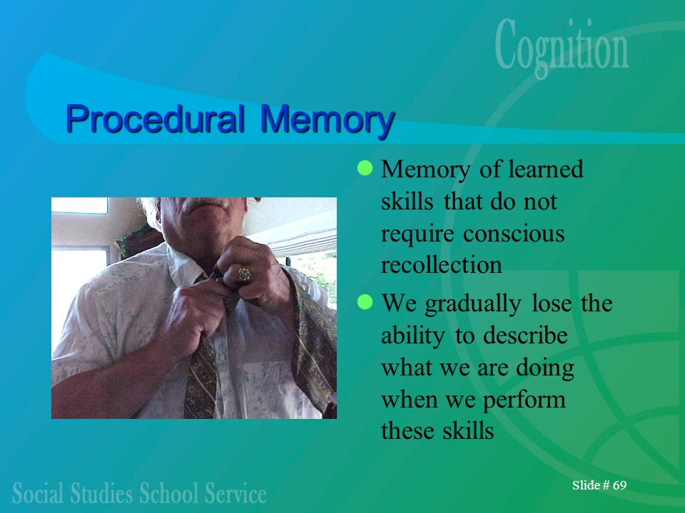 Procedural Memory Memory of learned skills that do not require conscious recollection.