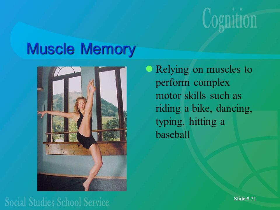 Muscle MemoryRelying on muscles to perform complex motor skills such as riding a bike, dancing, typing, hitting a baseball.