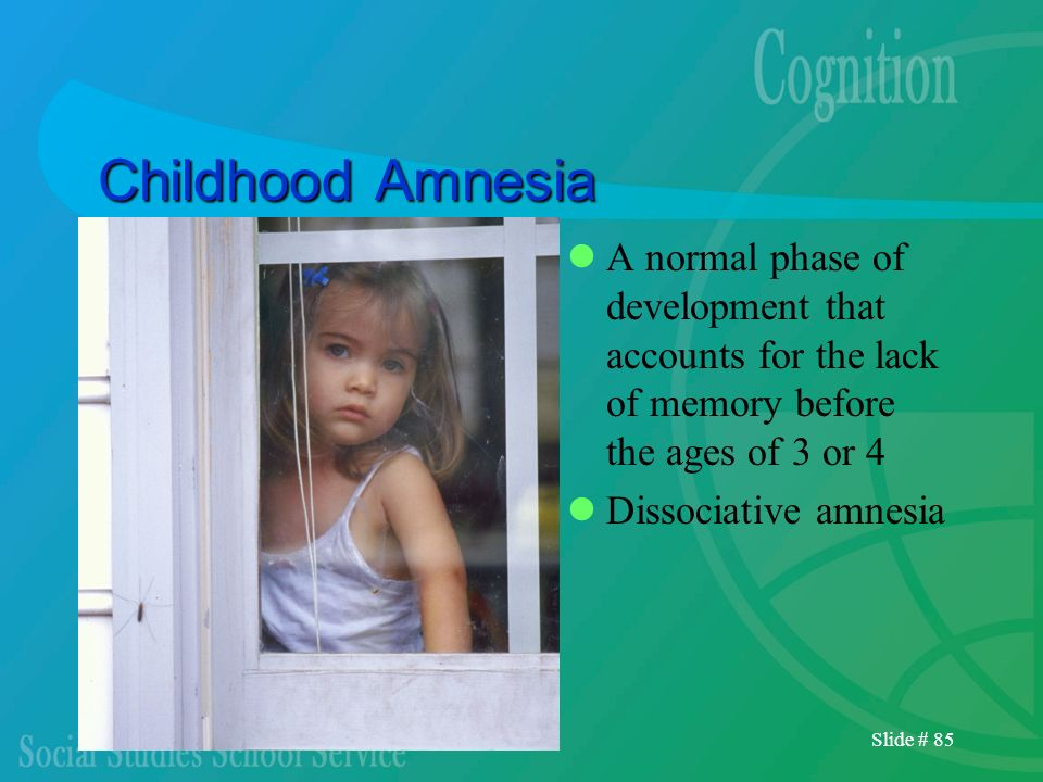 Childhood Amnesia A normal phase of development that accounts for the lack of memory before the ages of 3 or 4.