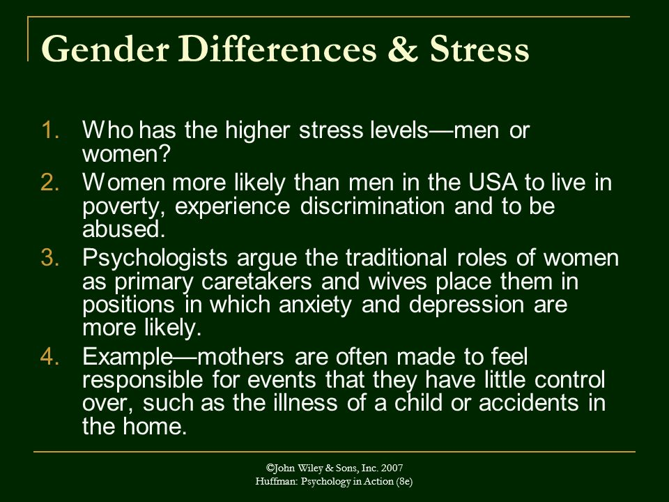 Gender Differences & Stress