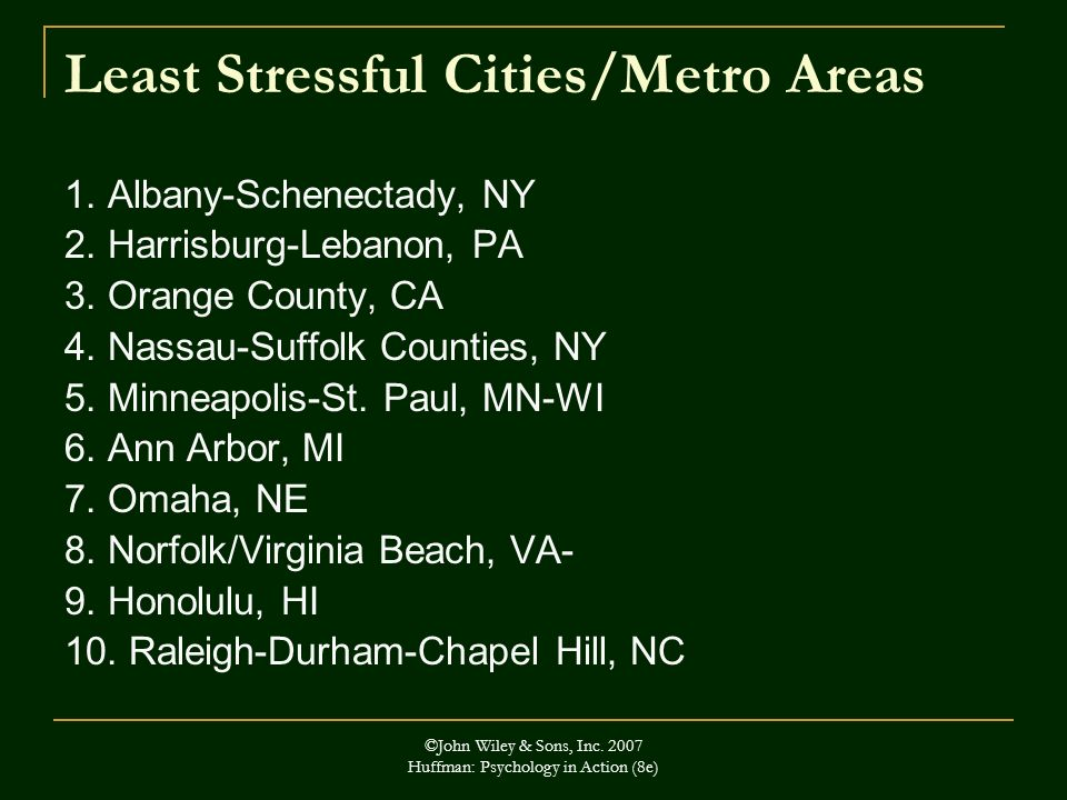 Least Stressful Cities/Metro Areas