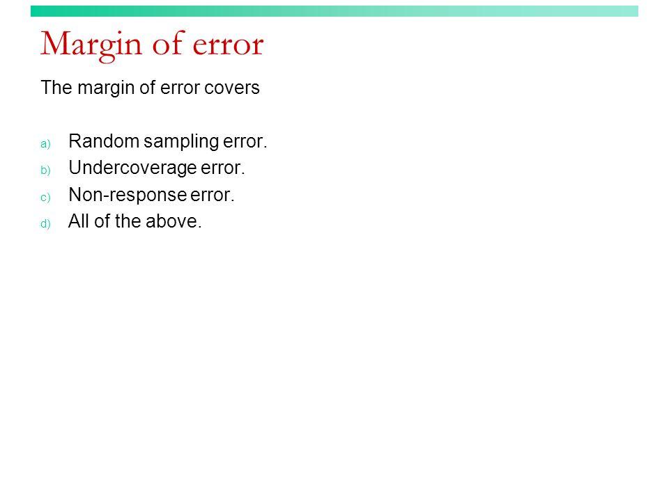 Margin of error The margin of error covers Random sampling error.